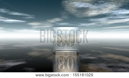 number eighty in glass cube under cloudy sky - 3d rendering