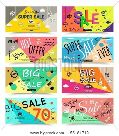 Set of horizontal sale banner template. Vector colorful banner for sale online stores, mobile phones, seasonal sales, social media and advertising companies.