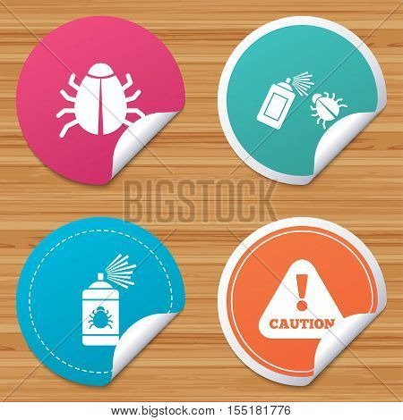 Round stickers or website banners. Bug disinfection icons. Caution attention symbol. Insect fumigation spray sign. Circle badges with bended corner. Vector