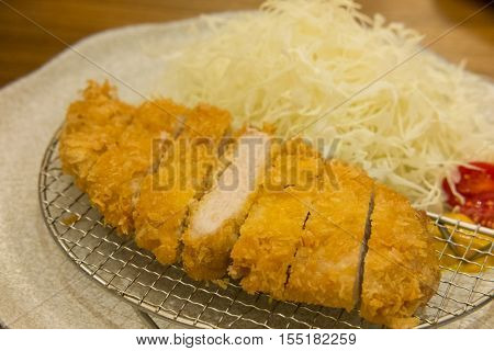 Tonkatsu, Fried Pork Serve On Plate In Restaurant