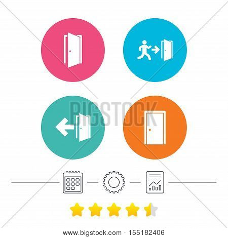 Doors icons. Emergency exit with human figure and arrow symbols. Fire exit signs. Calendar, cogwheel and report linear icons. Star vote ranking. Vector