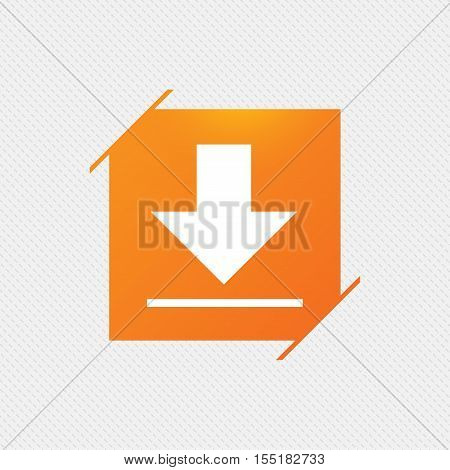Download icon. Upload button. Load symbol. Orange square label on pattern. Vector