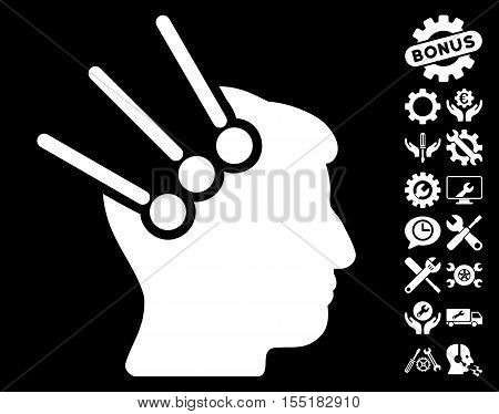 Neural Interface Connectors icon with bonus service pictograms. Vector illustration style is flat iconic symbols on white background.