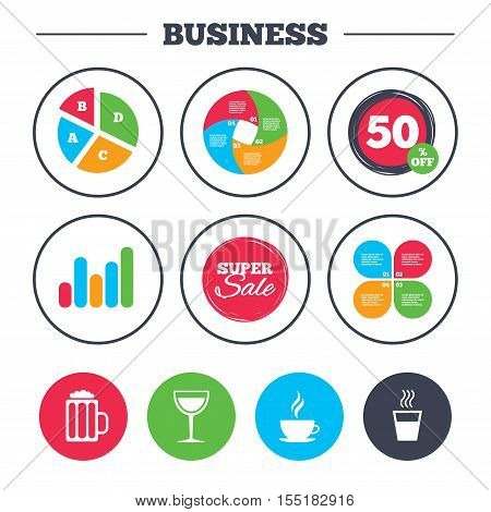 Business pie chart. Growth graph. Drinks icons. Coffee cup and glass of beer symbols. Wine glass sign. Super sale and discount buttons. Vector