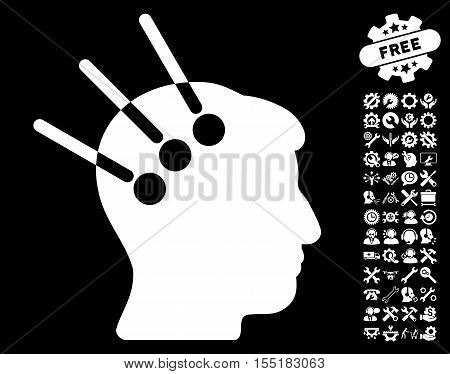 Neural Interface pictograph with bonus configuration graphic icons. Vector illustration style is flat iconic symbols on white background.