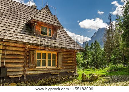 Wooden forester cottage in the mountains  in summer