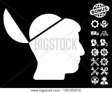 Open Brain icon with bonus setup tools icon set. Vector illustration style is flat iconic symbols on white background.