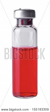 Medical vial with red contents isolated on white