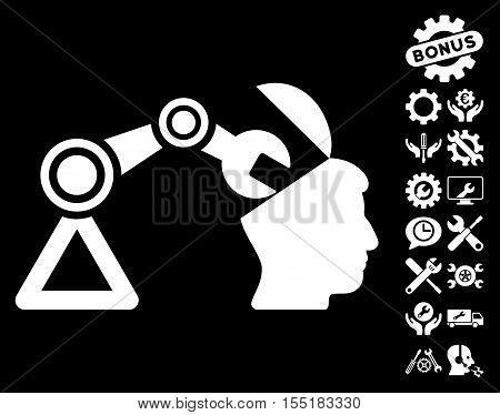 Open Head Surgery Manipulator icon with bonus options graphic icons. Vector illustration style is flat iconic symbols on white background.