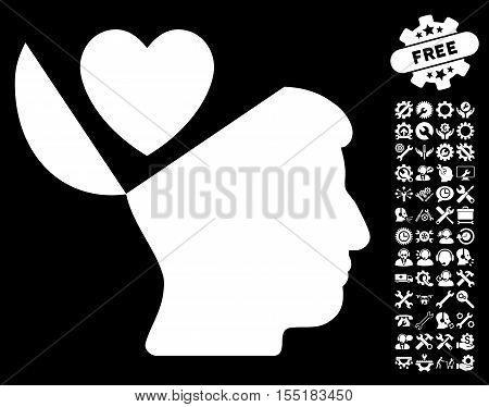 Open Mind Love Heart pictograph with bonus service pictograms. Vector illustration style is flat iconic symbols on white background.