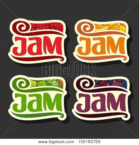 Vector Set colorful Fruits Jam Labels: collection set of abstract label green jam, decoration fruit purple logo or design sticker of orange jams, berry still life emblems isolated on black background.