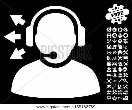 Operator Answer Speech icon with bonus service pictograph collection. Vector illustration style is flat iconic symbols on white background.