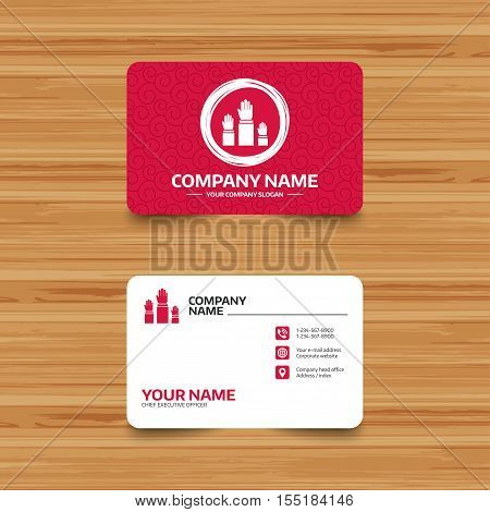 Business card template with texture. Election or voting sign icon. Hands raised up symbol. People referendum. Phone, web and location icons. Visiting card  Vector