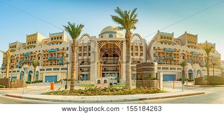 DUBAI, UAE - OCTOBER 11, 2016: A hotel front, Rixos, on the Palm Jumeirah Island on the Crescent.  The Palm Jumeirah is an artificial archipelago created using reclaimed land