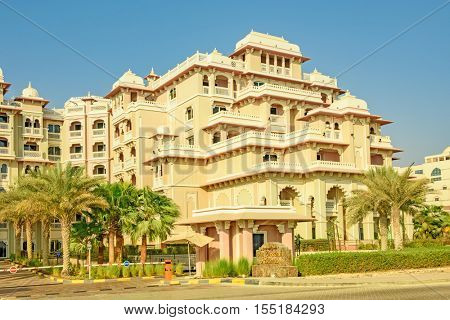 DUBAI, UAE - OCTOBER 11, 2016: A hotel front, Kempinkski, on the Palm Jumeirah Island on the Crescent.  The Palm Jumeirah is an artificial archipelago created using reclaimed land