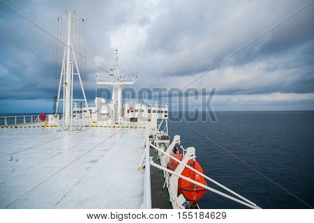 Color image of a lifeboat on a passenger ship.