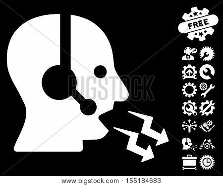Operator Shout icon with bonus tools images. Vector illustration style is flat iconic symbols on white background.