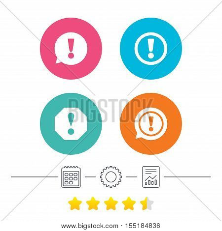 Attention icons. Exclamation speech bubble symbols. Caution signs. Calendar, cogwheel and report linear icons. Star vote ranking. Vector