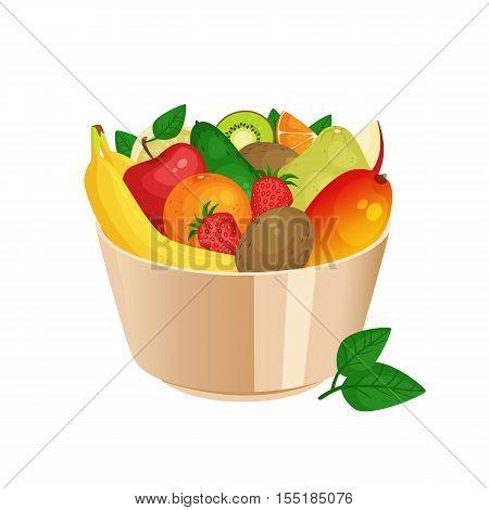 Bowl Of Cartoon Fresh Fruit And Berries. Apple Banana Mango Strawberry Kiwi Avocado Pomelo Orange Ve