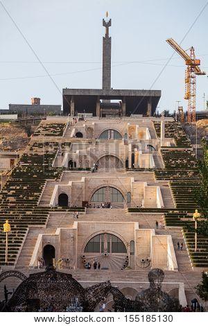 Yerevan Armenia - September 21 2016: Color image of 'The Cascade' a giant stairway in Yerevan Armenia.
