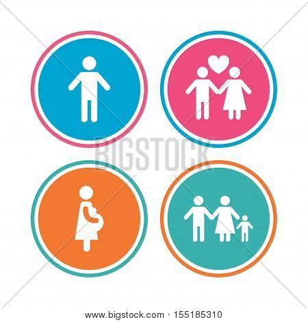 Family lifetime icons. Couple love, pregnancy and birth of a child symbols. Human male person sign. Colored circle buttons. Vector