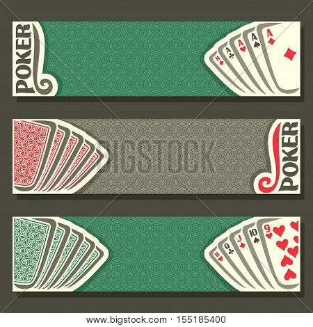 Vector logo of holdem Poker, playing card back for gambling game on green texture felt table in casino club, cover banner for text pokers gamble games, in header card set hand: four of kind, straight