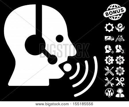 Operator Talking Sound Waves pictograph with bonus service clip art. Vector illustration style is flat iconic symbols on white background.