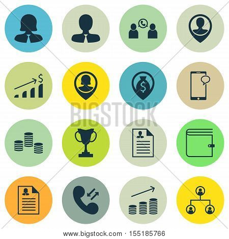 Set Of Human Resources Icons On Wallet, Phone Conference And Curriculum Vitae Topics. Editable Vecto