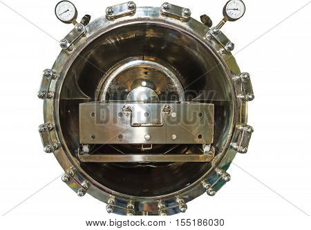 Close up black autoclave hole of autoclavesterilization machine for hospital isolated on white.Saved with clipping path