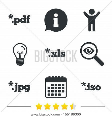 Document icons. File extensions symbols. PDF, XLS, JPG and ISO virtual drive signs. Information, light bulb and calendar icons. Investigate magnifier. Vector