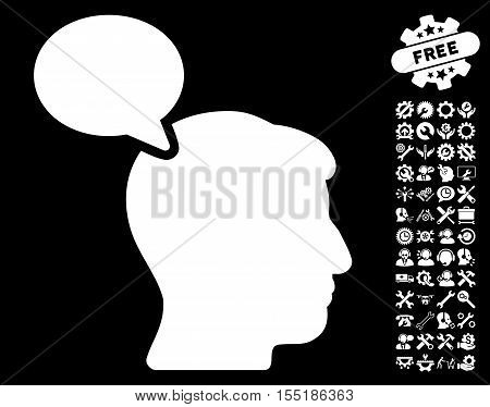 Person Opinion pictograph with bonus tools icon set. Vector illustration style is flat iconic symbols on white background.