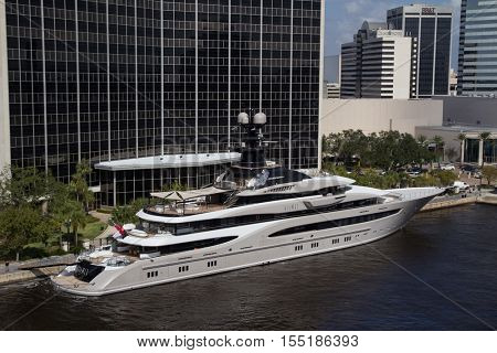 JACKSONVILLE, FLORIDA - OCTOBER 26, 2016: The Kismet superyacht in downtown Jacksonville. Kismet is owned by billionaire Shad Khan, who is also the owner of the Jacksonville Jaguars NFL football team.