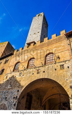 Hdr Old Podesta Palace In San Gimignano