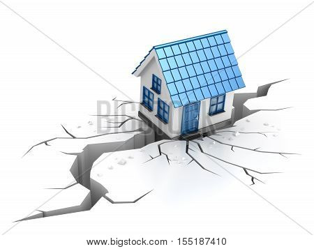 The house has failed in a crack during earthquake This is a 3d rendered computer generated image. Isolated on white.