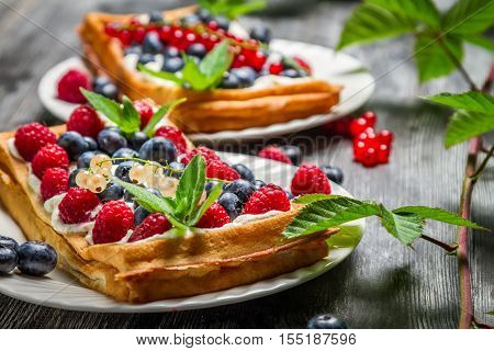 Waffels With Cream And Blueberry And Raspberry