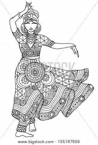 Coloring with an Indian girl. Dancer in a dress with a variety of patterns.