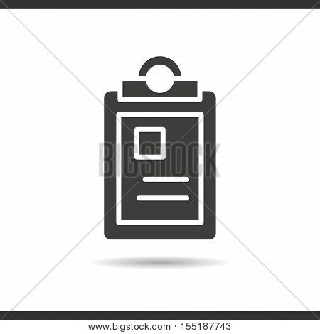 Police file icon. Drop shadow silhouette symbol. Negative space. Vector isolated illustration