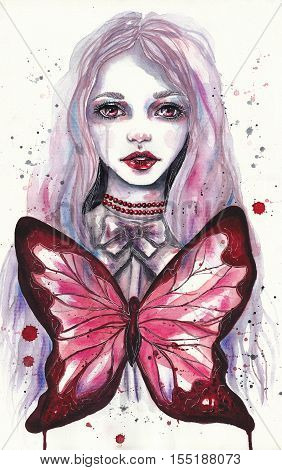 Portrait of beautiful girl with a red butterfly. Gothic watercolor illustration. Print for T-shirt