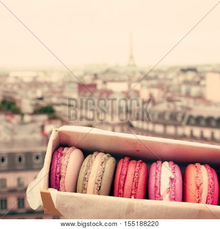 Macarons in a box and Paris skyline