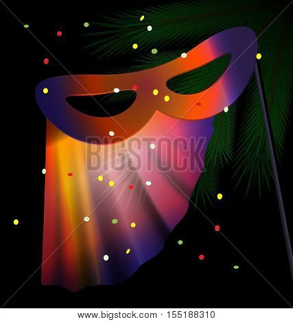 dark festive background and a carnival half mask decorated with veil