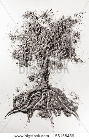 Tree drawing illustration concept made in grey ash dust dirt sand