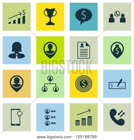 Set Of Hr Icons On Phone Conference, Business Goal And Tree Structure Topics. Editable Vector Illust