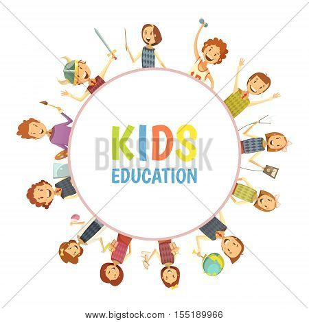 Primary elementary and middle school kids education emblem with hobbies sport science round frame cartoon vector illustration