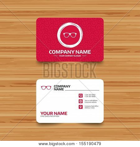 Business card template with texture. Retro glasses sign icon. Eyeglass frame symbol. Phone, web and location icons. Visiting card  Vector