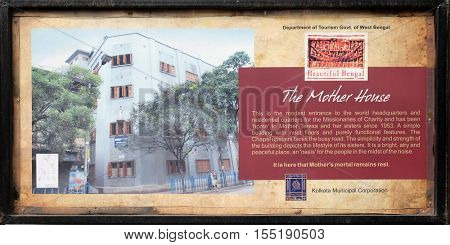 KOLKATA, INDIA - FEBRUARY 11: The board at the entrance to Mother house, established by Mother Teresa and run by the Missionaries of Charity in Kolkata, India on February 11, 2016.