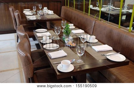 DELHI, INDIA - FEBRUARY 13 : Interior of the restaurant in the Country Inn & Suites By Carlson hotel in Saket, Delhi, India on February, 13, 2016.