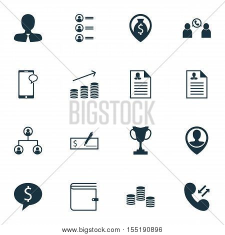 Set Of Human Resources Icons On Employee Location, Money Navigation And Manager Topics. Editable Vec