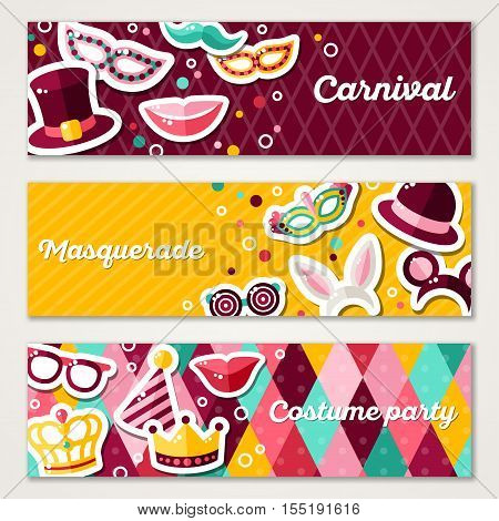 Set of Horizontal Banners with Carnival Masks and Objects. Vector Illustration. Masquerade Party Concept Template with Colorful Stickers.