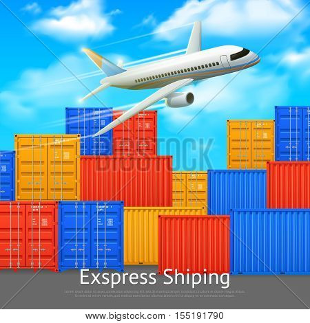 Express shipping poster with different colors cargo containers in open storage and airplane vector illustration