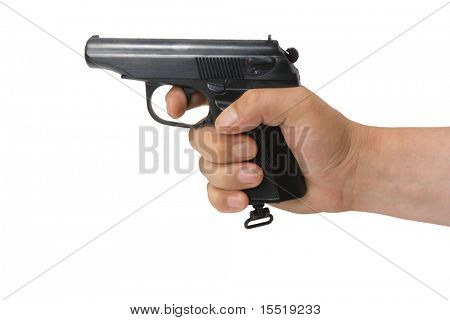Pistol. Fire-arms. The isolated object.
